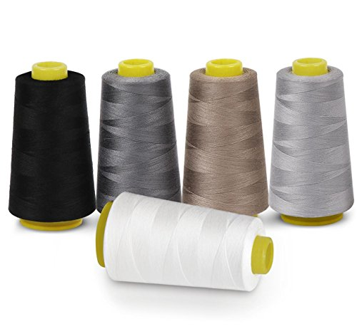 Sewing Thread 100% Polyester Spools 5 Colors 3000...