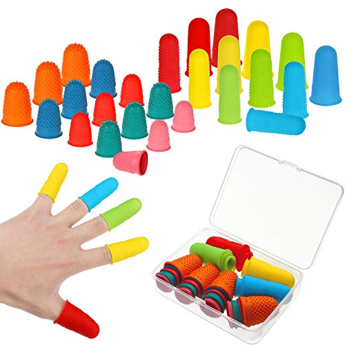 32 Pieces Rubber Finger Tips Silicone Finger...