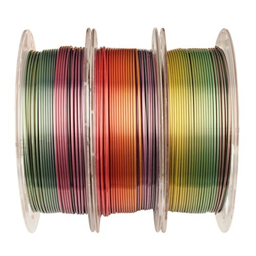 Shiny Silk Multicolor Rainbow PLA Filament, 1.75mm...