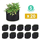 WOHOUS 20-Pack 5 Gallon Plant Grow Bags Heavy Duty Aeration...