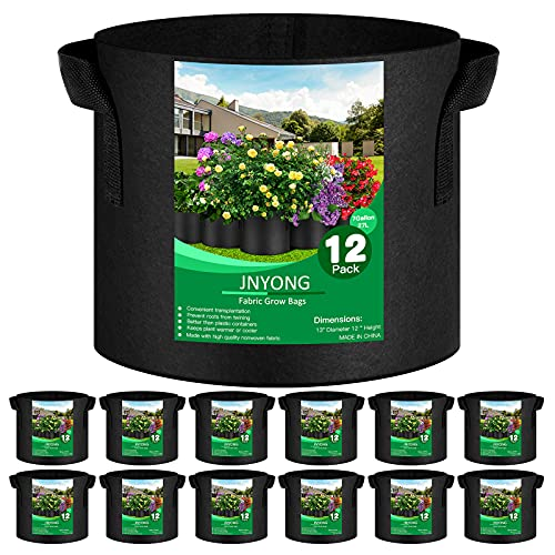 JNYONG 12-Pack 7 Gallon Thickened Non-Woven Grow Bags, Aeration Fabric Pots...