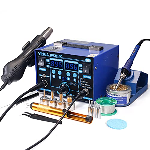 YIHUA 862BD+ SMD ESD Safe 2 in 1 Soldering Iron Hot Air Rework Station °F...