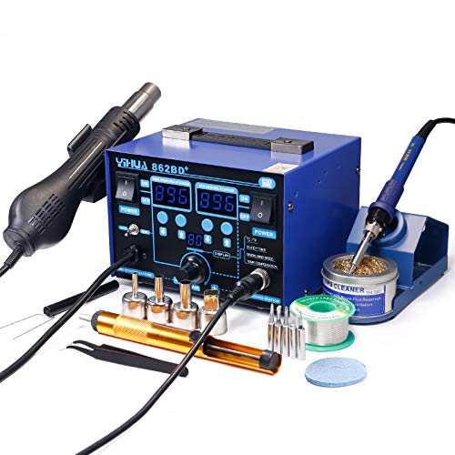 YIHUA 862BD+ SMD ESD Safe 2 in 1 Soldering Iron Hot Air...