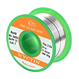 WYCTIN Lead Free Solder Wire Sn99.3-Cu0.7 0.6mm with Rosin...