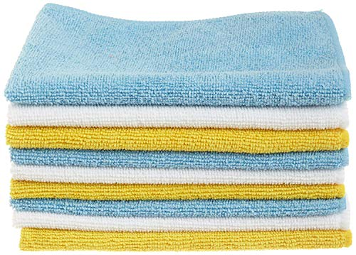 Amazon Basics Blue, White, and Yellow Microfiber Cleaning Cloth 12'x16' -...