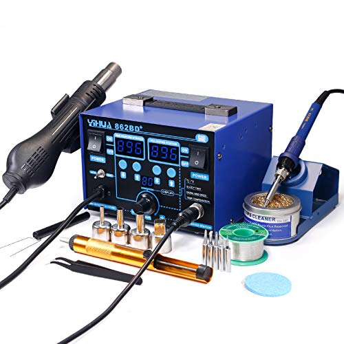 YIHUA 862BD+ SMD ESD Safe 2 in 1 Soldering Iron...