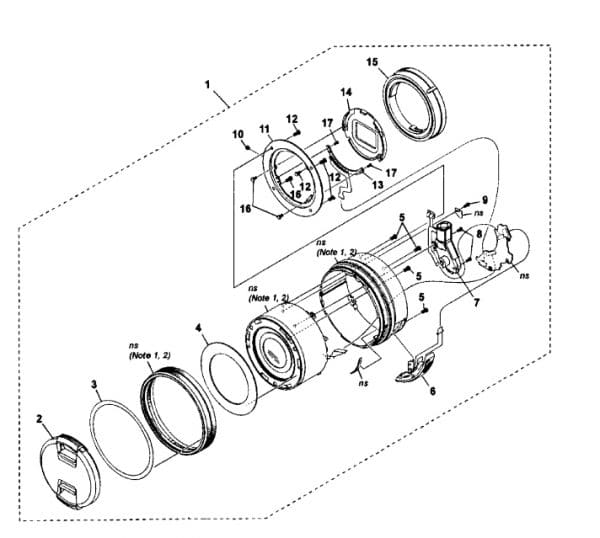 An exploded view repair diagram of a camera lens.
