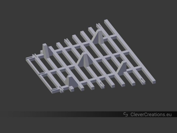 A 3D model of an upside-down grid with feet.
