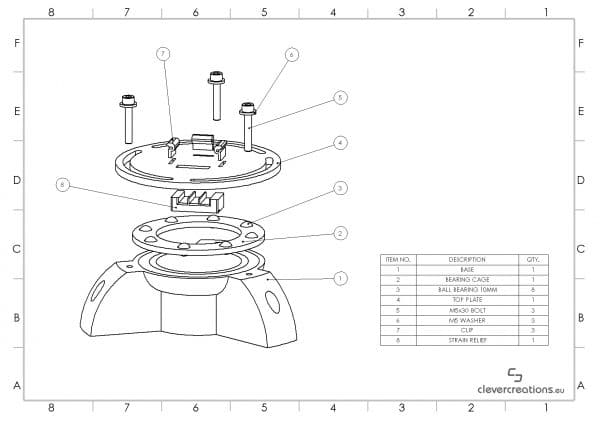 An exploded view diagram with BOM of a 3D printed desk lamp.