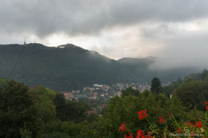A view of Brasov with its mountains and clouds.