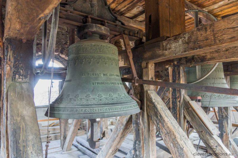 Church bells in the clock tower of a church in Cisnădie..