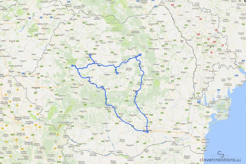 A map of the route of a road trip through Romania.
