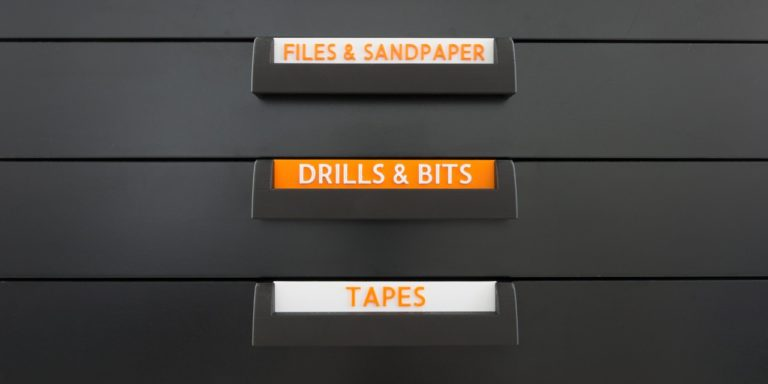 3D Printed labels and handles on an IKEA ALEX drawer cabinet.