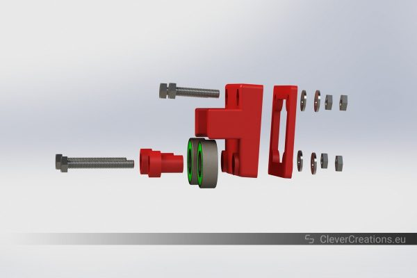 An exploded view of a low friction filament storage assembly that consists out of 3D printed parts, bolts, washers, nuts and roller bearings.