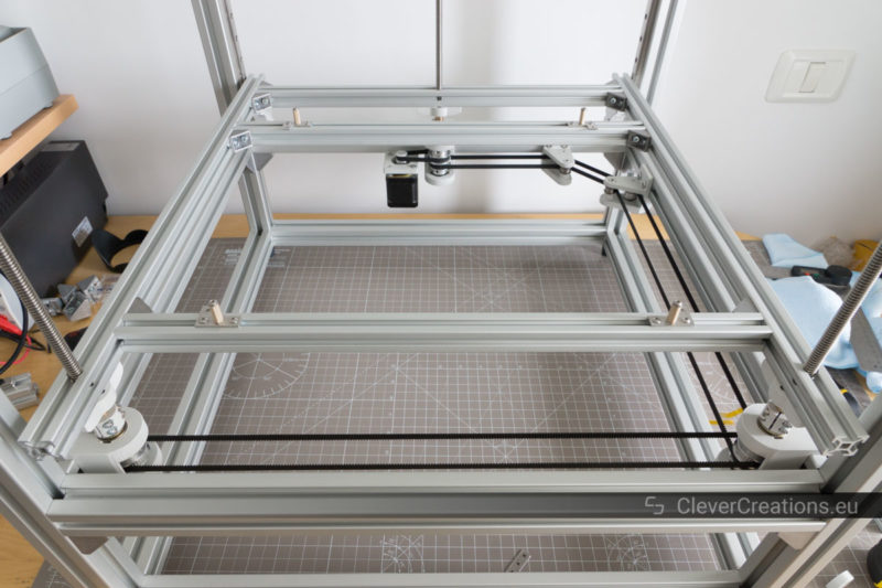 Top front view of a 3D printer Z carriage made out of 2020 extruded aluminium inside of a custom 3D printer.