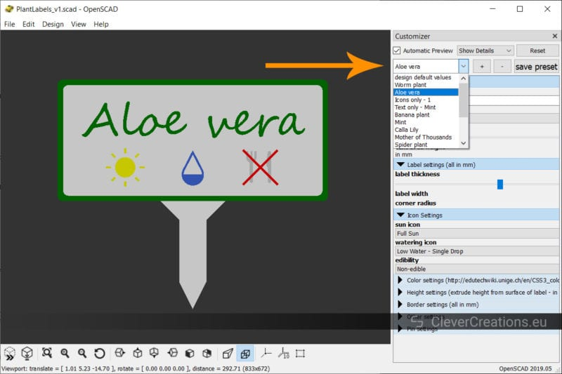 A screenshot of an OpenSCAD window with an arrow pointing to the presets in the Customizer.