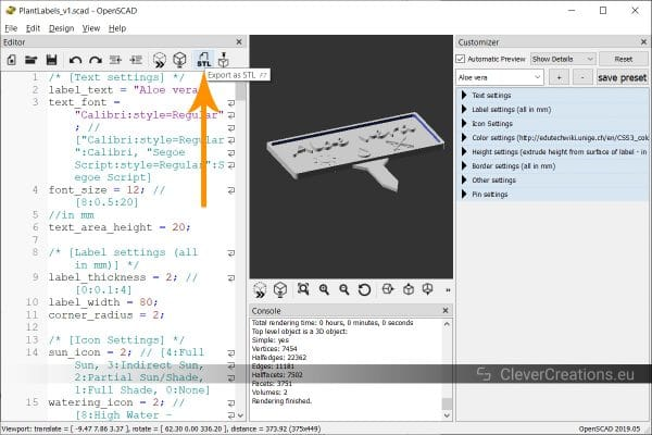 An arrow pointing to the 'Export as STL' button in OpenSCAD.