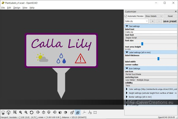 A screenshot of an OpenSCAD Customizer window with a variety of settings for generating a garden marker.