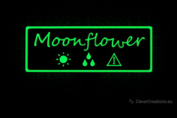 A 3D printed plant label with glow-in-the-dark filament.