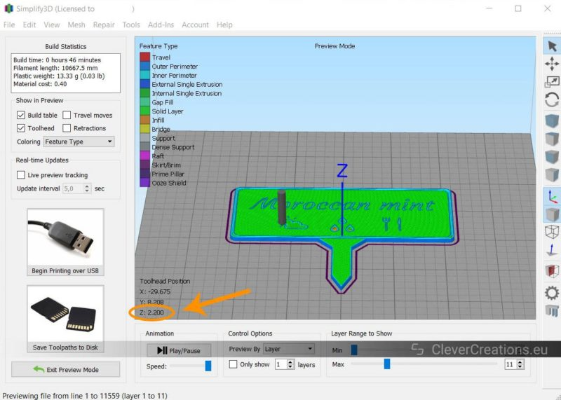 A screenshot of a Simplify3D window with an orange circle around the Z2.20 label.