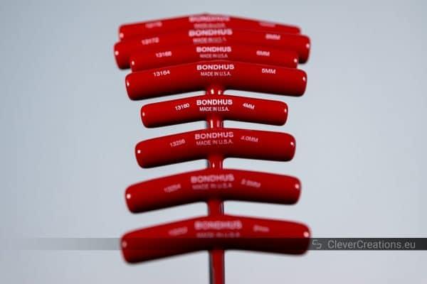 Close-up of the T-handles on Bondhus 13189 Balldriver & Hex Set