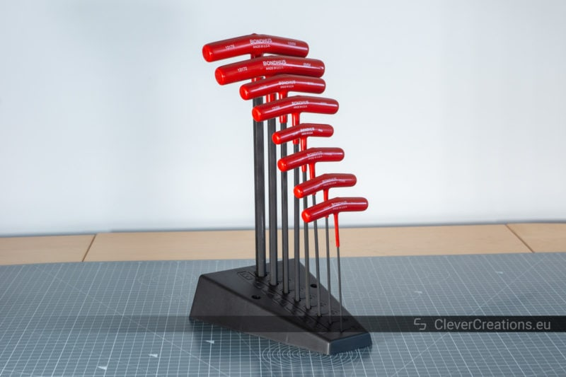A shot of the Allen keys of the Bondhus 13189 set in their plastic stand.