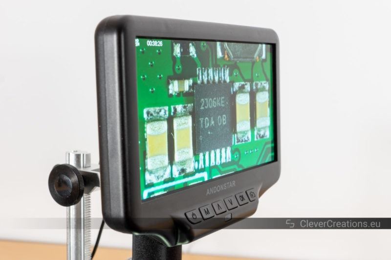 Angled view of the LCD screen, with the content still clearly visible.