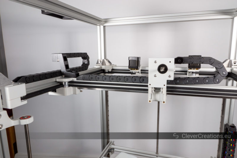 An overview of the cable carriers on the X- and Y-axis of a DIY 3D printer.