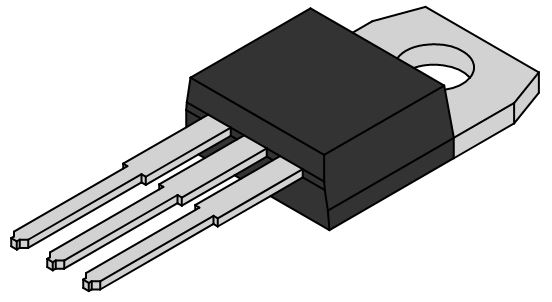 Front view of an electronic component with TO-220 packaging.