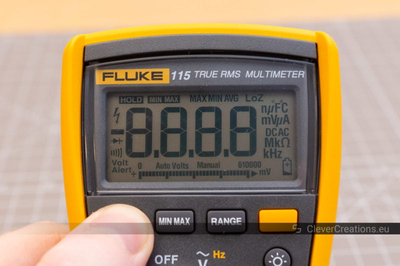 A DMM LCD display that shows all digits, icons and symbols at once.