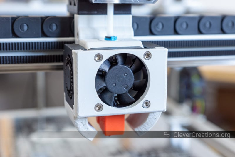 A 40mm cooling fan on the hot end of a 3D printer.