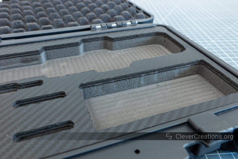Close-up of the foam padding of the PAD-02 storage case.