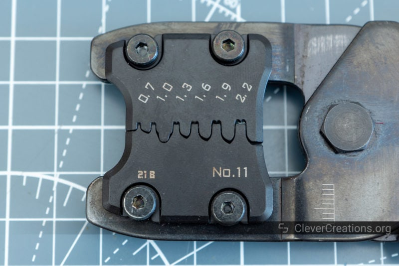 Top view of an Engineer crimping tool with precision PAD-11S die plates.
