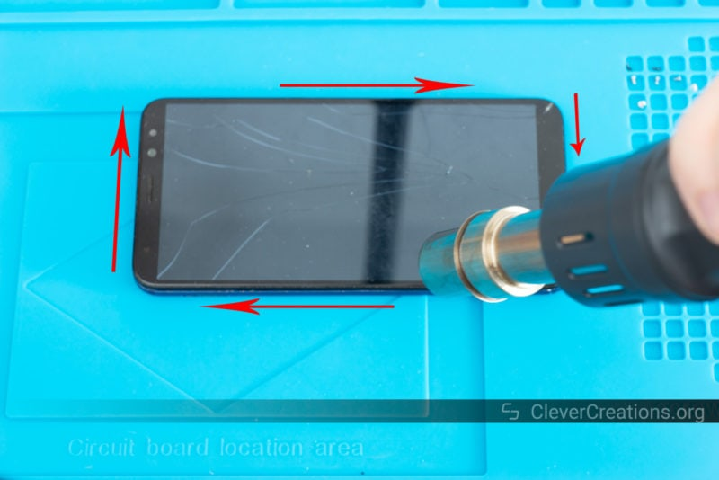 A heat gun used to soften the adhesive that glues a phone screen to its phone.